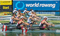 """Lucerne, SWITZERLAND, 12th July 2018, Friday. """"CAN LM2X"""" Bow, """"Patrick KEANE"""" and """"Maxwell LATTIMER"""", move away from the start, in their Heat of the Lightweight Men's Double Sculls"""", FISA World Cup series, No.3, Lake Rotsee, Lucerne, © Peter SPURRIER,"""