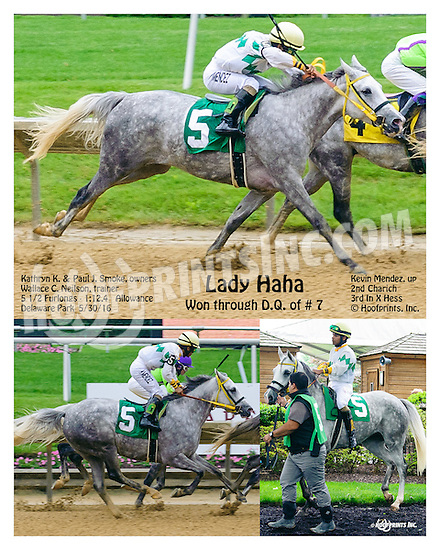 Lady Haha #5 put up for the win after the disqualification of #7 Charich at Delaware Park on 5/30/16