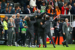 Manchester United manager Jose Mourinho is lifted in the air during the celebrations after the UEFA Europa League Final match at the Friends Arena, Stockholm. Picture date: May 24th, 2017.Picture credit should read: Matt McNulty/Sportimage