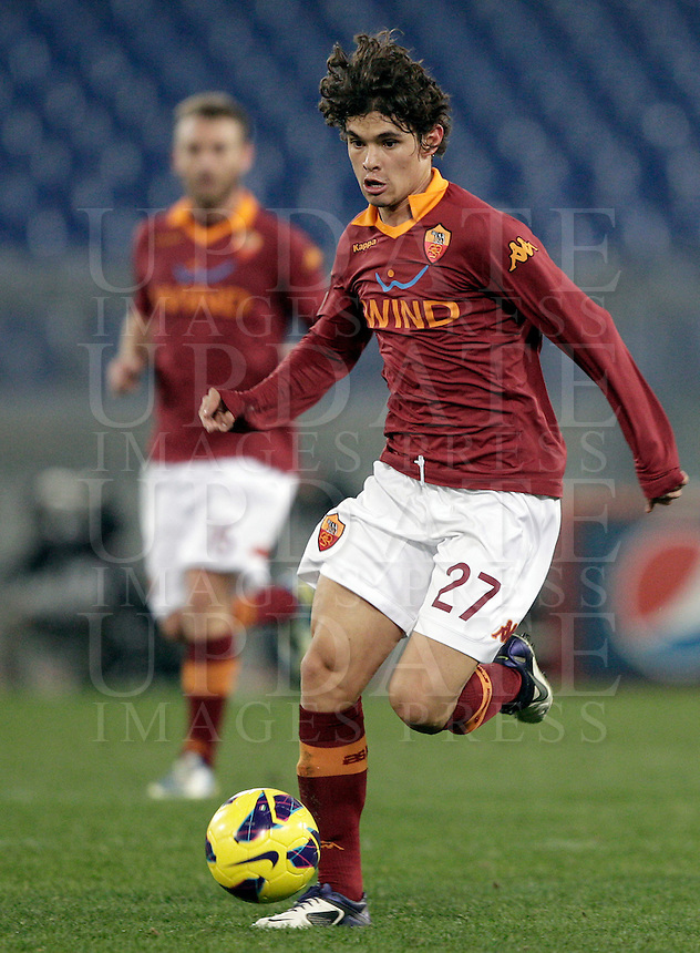 Calcio, ottavi di finale di Coppa Italia: Roma vs Atalanta. Roma, stadio Olimpico, 11 dicembre 2012..AS Roma defender Dodo', of Brazil, in action during their Italy Cup last-16 tie football match between AS Roma and Atalanta at Rome's Olympic stadium, 11 december 2012. .UPDATE IMAGES PRESS/Riccardo De Luca