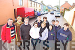 TRAFFIC JAM: Staff and students of Causeway Comprehensive School who are seeking pedestrian crossing in the busy centre of the village, front l-r: Timmy Leahy, Lucille O'Sullivan (principal), Alan Wynne, Susan McMahon, Nicole O'Sullivan, Lisa Shanahan, Aidan Horgan. Back l-r: Mark Dineen, Kieran Lyons, Kevin Foley, Darragh Dineen.