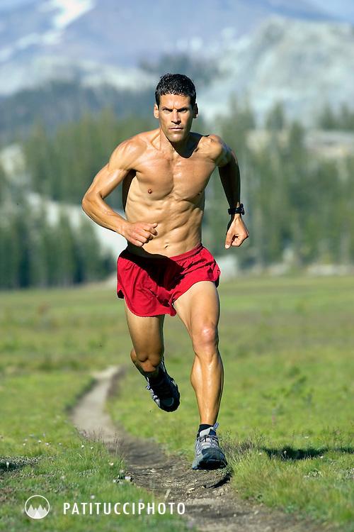 Dean Karnazes trail running in Tuolumne Meadows, California