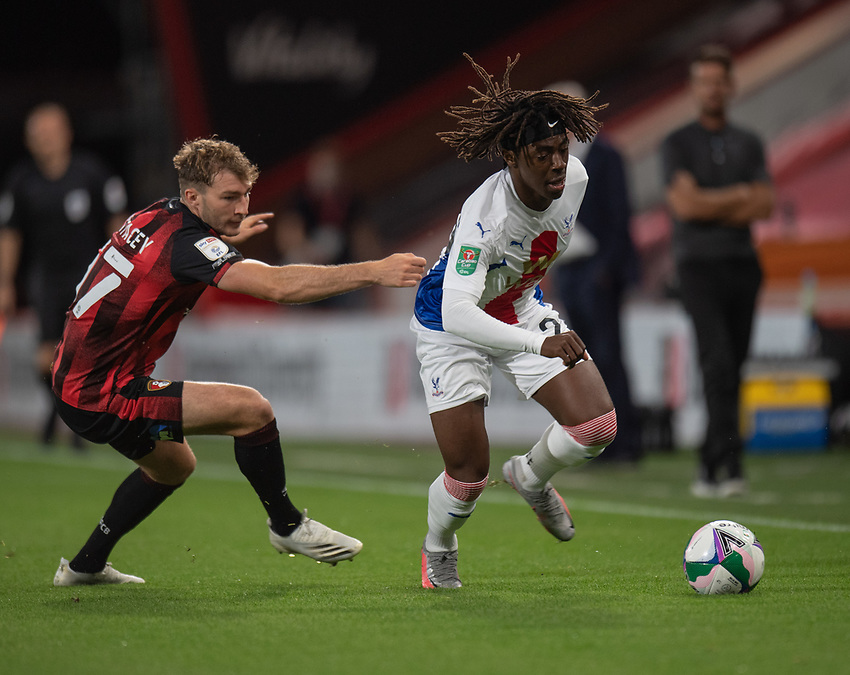 Crystal Palace's Eberechi Eze (right) holds off the challenge from Bournemouth's Jack Stacey (left) <br /> <br /> Photographer David Horton/CameraSport<br /> <br /> Carabao Cup Second Round Southern Section - Bournemouth v Crystal Palace - Tuesday 15th September 2020 - Vitality Stadium - Bournemouth<br />  <br /> World Copyright © 2020 CameraSport. All rights reserved. 43 Linden Ave. Countesthorpe. Leicester. England. LE8 5PG - Tel: +44 (0) 116 277 4147 - admin@camerasport.com - www.camerasport.com