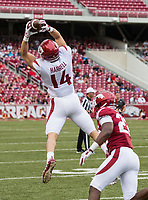 Hawgs Illustrated/BEN GOFF <br /> Chase Harrell, Arkansas tight end, catches a pass in the second quarter Saturday, April 6, 2019, during the Arkansas Red-White game at Reynolds Razorback Stadium.