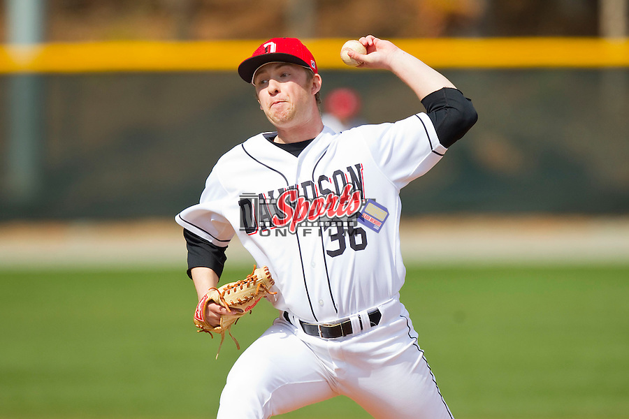 Davidson Wildcats relief pitcher Justin Charles (36) in action against the Western Carolina Catamounts at Wilson Field on March 10, 2013 in Davidson, North Carolina.  The Catamounts defeated the Wildcats 5-2.  (Brian Westerholt/Sports On Film)