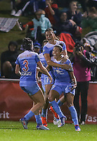 Boyds, MD - Friday Sept. 30, 2016: Sofia Huerta, Christen Press celebrates scoring during a National Women's Soccer League (NWSL) semi-finals match between the Washington Spirit and the Chicago Red Stars at Maureen Hendricks Field, Maryland SoccerPlex. The Washington Spirit won 2-1 in overtime.