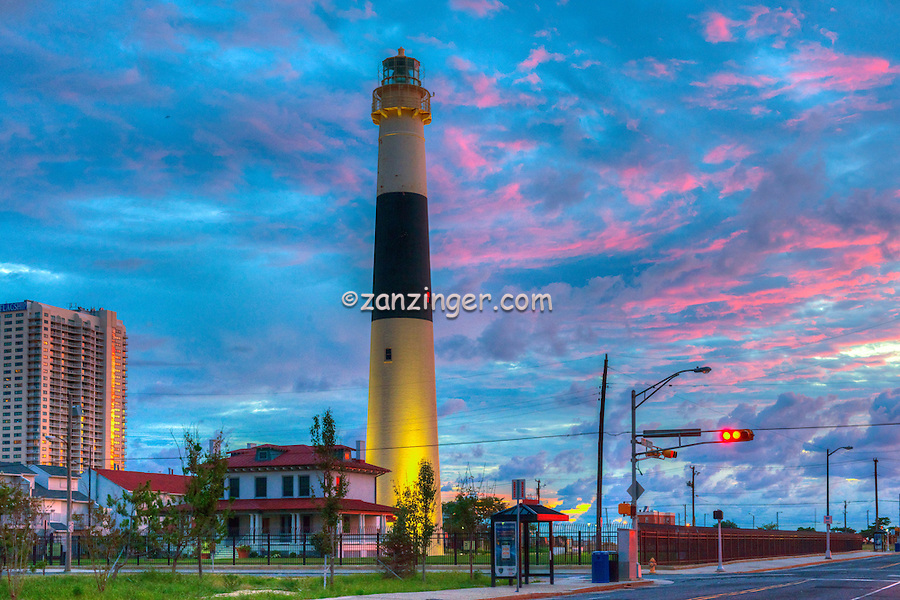 Atlantic City; Absecon Light,coastal lighthouse,  north end, Atlantic City, New Jersey, overlooking Absecon Inlet
