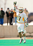 19 March 2011: University of Vermont Catamount Attacker Drew Philie, a Sophomore from Sandwich, MA, celebrates a UVM goal  against the St. John's University Red Storm at Moulton Winder Field in Burlington, Vermont. The Catamounts defeated the visiting Red Storm 14-9. Mandatory Credit: Ed Wolfstein Photo