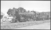 #890 engine at Santa Fe depot.<br /> AT&amp;SF  Santa Fe, NM  Taken by Lunoe, Bob - 8/26/1941