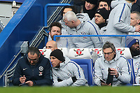 Chelsea Manager, Maurizio Sarri takes some notes  during Chelsea vs Huddersfield Town, Premier League Football at Stamford Bridge on 2nd February 2019
