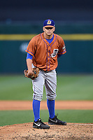Durham Bulls pitcher C.J. Riefenhauser (34) looks in for the sign during a game against the Buffalo Bisons on July 10, 2014 at Coca-Cola Field in Buffalo, New  York.  Durham defeated Buffalo 3-2.  (Mike Janes/Four Seam Images)