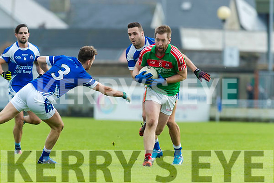 Ross O'Callaghan Kerins O'Rahillys in action against Kevin Gorman  Kilcummin Senior Football Championship Relegation Playoff in Austin Stack Park on Sunday