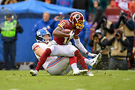Landover, MD - December 9, 2018: Washington Redskins wide receiver Jehu Chesson (16) is stopped short of the first down market during game between the New York Giants and Washington Redskins at FedEx Field in Landover, MD. The Giants defeated the Redskins 40-16 dropping the Redskins to 6-7 on the season. (Photo by Phillip Peters/Media Images International)