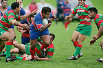 R. Avei breaks free of the Waiuku tacklers. Counties Manukau Premier Club Rugby, Ardmore Marist vs Waiuku played at Bruce Pulman Park, Papakura on the 29th of April 2006. Ardmore Marist won 10 - 9.