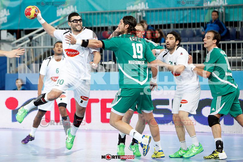 Hungary and Algeria during 23rd Men's Handball World Championship preliminary round match, in the pic: Saci Boultif and Laszlo Nagy. January 19 ,2013. (ALTERPHOTOS/Caro Marin) /NortePhoto