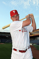 Feb 20, 2009; Clearwater, FL, USA; The Philadelphia Phillies infielder Brad Harman (18) during photoday at Bright House Field. Mandatory Credit: Tomasso De Rosa/ Four Seam Images