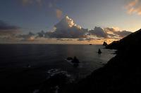 Rocks in the sea at sunrise, Benijo, Tenerife, Canary Islands.