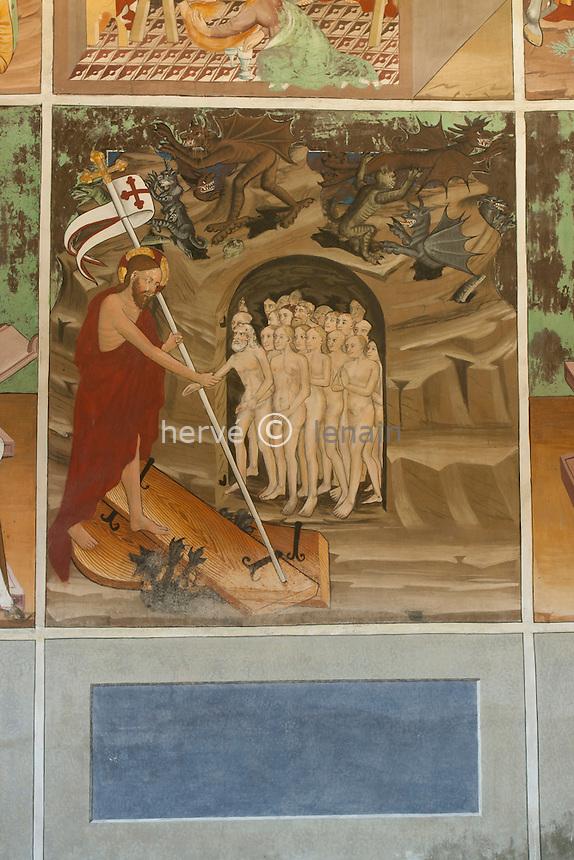 France, Savoie (73), Lanslevillard, chapelle Saint-Sébastien, les fresques, la descente aux limbes // France, Savoie, Lanslevillard, chapel Sat Sebastien, frescoes, the descent in limbs