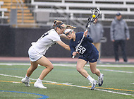 Towson, MD - February 10, 2018: Penn State Maria Auth (26) runs by the Towson defender during game between Towson and Penn St at  Minnegan Field at Johnny Unitas Stadium  in Towson, MD.   (Photo by Elliott Brown/Media Images International)