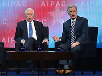 tWashington, DC - March 5, 2018: U.S. Reps. Steny Hoyer and Kevin McCarthy speak during the 2018 American Israel Public Affairs Committee (AIPAC) Policy Conference at the Washington Convention Center March 5, 2018.  (Photo by Don Baxter/Media Images International)