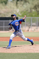 Willengton Cruz #66 of the Chicago Cubs pitches in an extended spring training game against the Los Angeles Angels at the Angels minor league complex on May 11, 2011  in Tempe, Arizona. .Photo by:  Bill Mitchell/Four Seam Images.