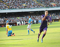 Fiorentina's Nikola Kalinic celebrates after scoring    in action during the Italian Serie A soccer match between SSC Napoli and AC Fiorentina  at San Paolo stadium in Naples,October 18, 2015
