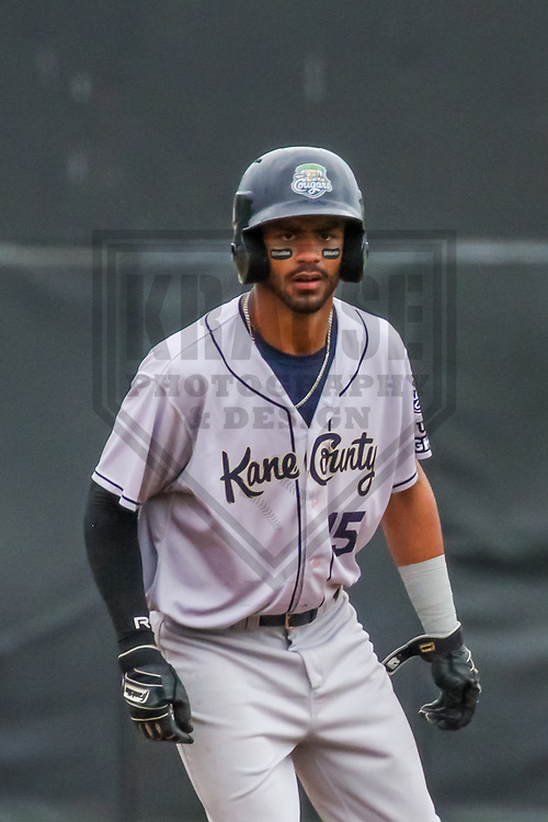 Kane County Cougars outfielder Luis Silverio (15) during a Midwest League game against the Wisconsin Timber Rattlers on June 11, 2017 at Fox Cities Stadium in Appleton, Wisconsin.  Kane County defeated Wisconsin 6-4. (Brad Krause/Krause Sports Photography)