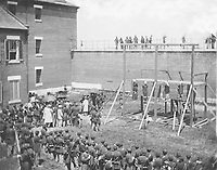 Execution of Mary Surratt, Lewis Powell, David Herold, and George Atzerodt on July 7, 1865, at Fort McNair in Washington, D.C.
