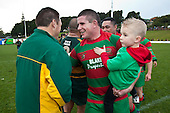 Grant Henson gets congratulated by Pukekohe assistant coach Mark Brooke-Cowden. Counties Manukau McNamara Cup Premier Club Rugby final between Pukekohe andWaiuku, held at Bayer Growers Stadium, on Saturday July 17th. Waiuku won 25 - 20.