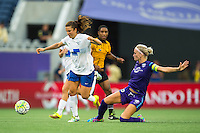 Orlando, FL - Sunday July 10, 2016: Stephanie McCaffrey, Kaylyn Kyle during a regular season National Women's Soccer League (NWSL) match between the Orlando Pride and the Boston Breakers at Camping World Stadium.