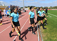 20200304  Parchal , Portugal : referees pictured with Venezolan Emikar Calderas , Venezolan Migdalia Rodriguez , Argentinian Daiana Milone and Portugese Silvia Rosa Domingos during the female football game between the national teams of Denmark and Norway on the first matchday of the Algarve Cup 2020 , a prestigious friendly womensoccer tournament in Portugal , on wednesday 4 th March 2020 in Parchal , Portugal . PHOTO SPORTPIX.BE | DAVID CATRY