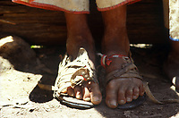Huarache clad feet. Wixarika (Huichol) community in the Sierra Madre Occidental, Mexico