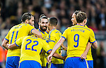 Solna 2014-10-12 Fotboll EM-kval , Sverige - Liechtenstein :  <br /> Sveriges Jimmy Durmaz , Johan Elmander , Kim K&auml;llstr&ouml;m och Albin Ekdal gratulerar Erkan Zengin till sitt 1-0 m&aring;l<br /> (Photo: Kenta J&ouml;nsson) Keywords:  Sweden Sverige Friends Arena EM Kval EM-kval UEFA Euro European 2016 Qualifying Group Grupp G Liechtenstein jubel gl&auml;dje lycka glad happy