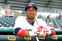 Fort Myers Miracle second baseman Eddie Rosario #11 during a game against the Jupiter Hammerheads on April 9, 2013 at Hammond Stadium in Fort Myers, Florida.  Fort Myers defeated Jupiter 1-0.  (Mike Janes/Four Seam Images)