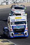 German driver Jochen  Hahn belonging German team Jochen Hahn Czech driver Adam Lacko belonging Czech team Buggyra International Racing System during the third race R3 of the XXX Spain GP Camion of the FIA European Truck Racing Championship 2016 in Madrid. October 02, 2016. (ALTERPHOTOS/Rodrigo Jimenez)