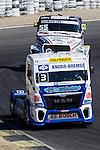 German driver Jochen  Hahn belonging German team Jochen Hahn Czech driver Adam Lacko belonging Czech team Buggyra International Racing System during the third race R3 of the XXX Spain GP Camion of the FIA European Truck Racing Championship 2016 in Madrid. October 02, 2016. (ALTERPHOTOS/Rodrigo Jimenez)