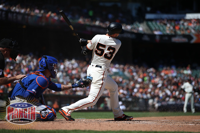 SAN FRANCISCO, CA - JULY 20:  Austin Slater #53 of the San Francisco Giants bats against the New York Mets during the game at Oracle Park on Saturday, July 20, 2019 in San Francisco, California. (Photo by Brad Mangin)