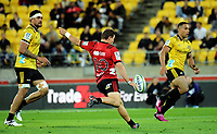 Mitchell Hunt clears during the Super Rugby match between the Hurricanes and Crusaders at Westpac Stadium in Wellington, New Zealand on Saturday, 10 March 2018. Photo: Dave Lintott / lintottphoto.co.nz