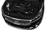 Car stock 2018 KIA Sorento GT Line 5 Door SUV engine high angle detail view
