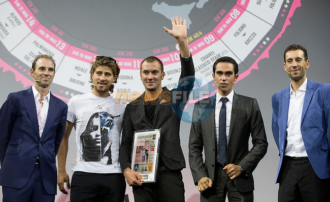 UCI leading points rider Alejandro Valverde (ESP), newly crowned World Champion Peter Sagan (SVK), Ivan Basso (ITA), defending Giro Champion Alberto Contador (ESP) and  Vincenzo Nibali (ITA) at the Giro d'Italia 2016 Presentation held at Expo Milano, Milan, Italy. 5th October 2015.<br /> Picture: ANSA/Claudio Peri | Newsfile
