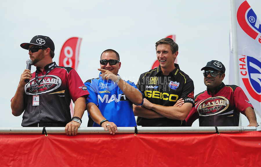 Jun. 29, 2012; Joliet, IL, USA: NHRA top fuel dragster drivers (L-R) Shawn Langdon , Brandon Bernstein , Morgan Lucas and Khalid Albalooshi during qualifying for the Route 66 Nationals at Route 66 Raceway. Mandatory Credit: Mark J. Rebilas-