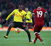 17th March 2018, Anfield, Liverpool, England; EPL Premier League football, Liverpool versus Watford; Abdoulaye Doucoure of Watford wins the ball from Sadio Mane of Liverpool