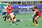 The Hague, Netherlands, June 13: Maike Stoeckel #24 of Germany passes the ball during the field hockey placement match (Women - Place 7th/8th) between Korea and Germany on June 13, 2014 during the World Cup 2014 at Kyocera Stadium in The Hague, Netherlands. Final score 4-2 (2-0)  (Photo by Dirk Markgraf / www.265-images.com) *** Local caption ***