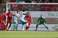 Crawley's 1st goalscorer Nathan Ferguson scores past DEan Brill during Leyton Orient vs Crawley Town, Sky Bet EFL League 2 Football at The Breyer Group Stadium on 24th August 2019