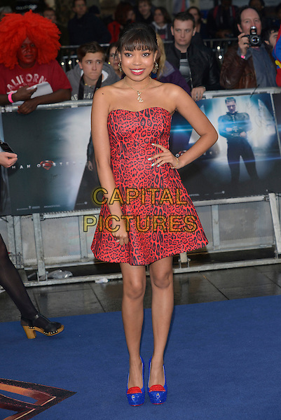 Dionne Bromfield<br /> 'Man Of Steel' UK film premiere, Empire cinema, Leicester Square, London, England. <br /> 12th June 2013<br /> full length red strapless black leopard print dress blue yellow heel shoes hand on hip  <br /> CAP/PL<br /> &copy;Phil Loftus/Capital Pictures