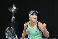 January 2, 2020: 14th seed SOFIA KENIN (USA) in action against GARBIÑE MUGURUZA (ESP) on Rod Laver Arena in a Women's Singles Final match on day 14 of the Australian Open 2020 in Melbourne, Australia. Photo Sydney Low. Kenin won 46 62 62