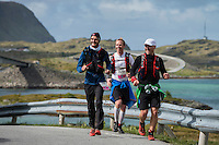 Runners passing Fredvang bridges, Lofoten Ultra Marathon, 2016