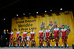 Team Katusha-Alpecin on stage at the Team Presentations for the 105th Tour de France 2018 held on Napoleon Square in La Roche-sur-Yon, France. 5th July 2018. <br /> Picture: ASO/Bruno Bade | Cyclefile<br /> All photos usage must carry mandatory copyright credit (&copy; Cyclefile | ASO/Bruno Bade)