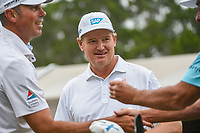 Ernie Els (RSA) and Matt Kuchar (USA) on the tee on 1 during day 3 of the Valero Texas Open, at the TPC San Antonio Oaks Course, San Antonio, Texas, USA. 4/6/2019.<br /> Picture: Golffile | Ken Murray<br /> <br /> <br /> All photo usage must carry mandatory copyright credit (&copy; Golffile | Ken Murray)