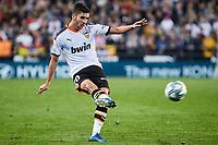 14th February 2020; Mestalla, Valencia, Spain; La Liga Football,Valencia versus Atletico Madrid; Ferran Torres of Valencia CF centers the ball into the Atletico box